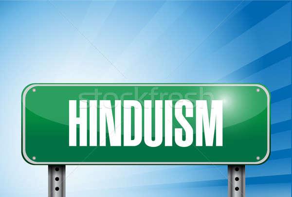 Hindoeïsme religieuze verkeersbord banner illustratie teken Stockfoto © alexmillos