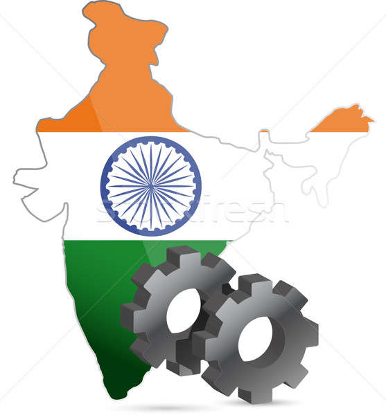 Hindistan harita bayrak dişliler örnek dizayn Stok fotoğraf © alexmillos