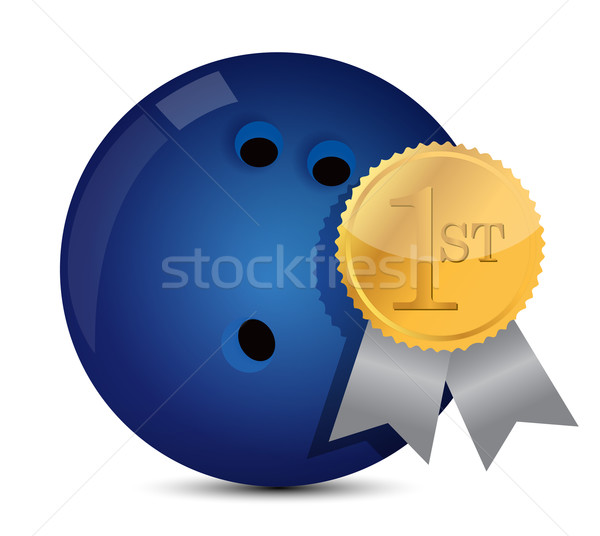 Bowling topu ödül spor arka plan beyaz profesyonel Stok fotoğraf © alexmillos