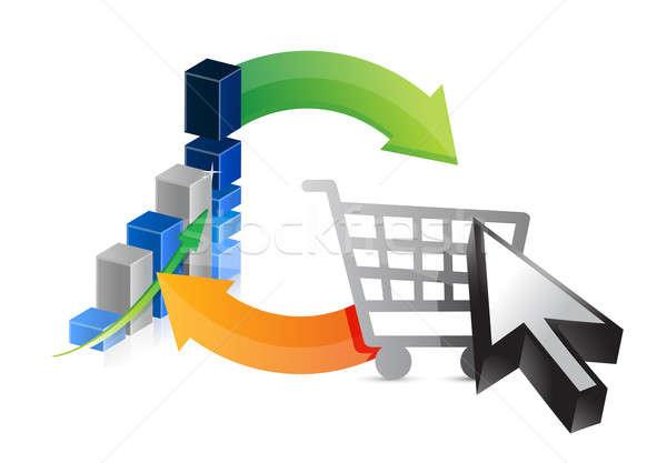 Business graph shopping profits illustration Stock photo © alexmillos
