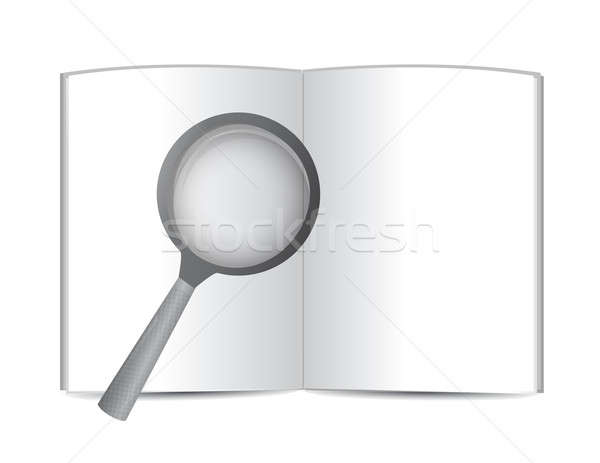 Stock photo: open book and magnify glass. illustration