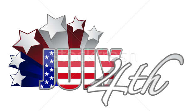 Fourth of July with starts red white and blue designs. vector fi Stock photo © alexmillos