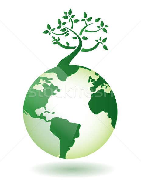 Renascimento árvore mapa natureza mundo fundo Foto stock © alexmillos