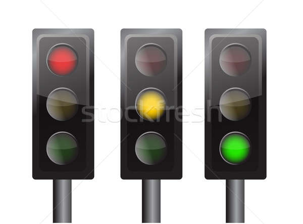 Yeşil sarı kırmızı trafik ışıkları yalıtılmış beyaz Stok fotoğraf © alexmillos
