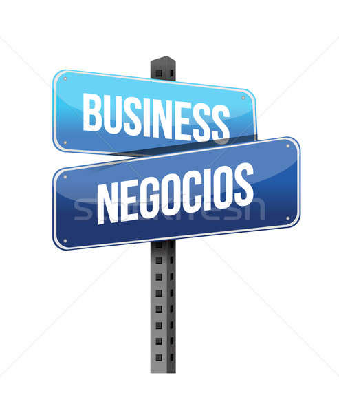üzlet angol spanyol felirat illusztráció terv Stock fotó © alexmillos