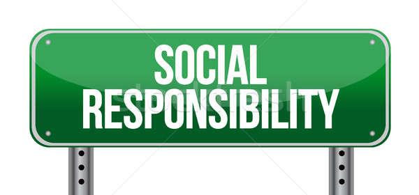 Sociale responsabilité panneau routier illustration design blanche Photo stock © alexmillos