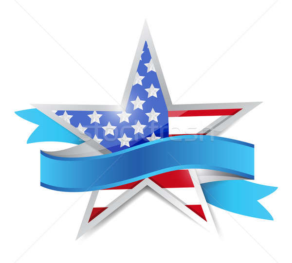 us patriotic star and ribbon. illustration design over white Stock photo © alexmillos