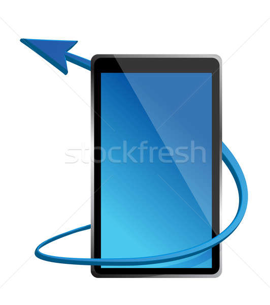 Stock photo: one tablet pc that shows the concept of internet illustration de