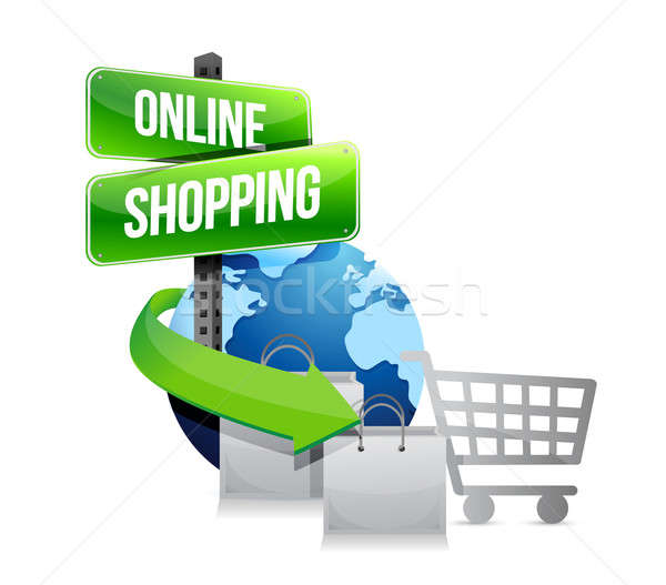 global shopping concept with shopping cart, bags and sign illust Stock photo © alexmillos