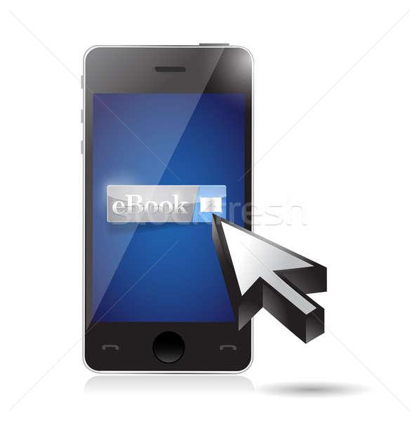 Ebook ilustração projeto branco telefone Foto stock © alexmillos
