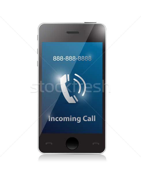 incoming call. modern smart phone illustration design Stock photo © alexmillos