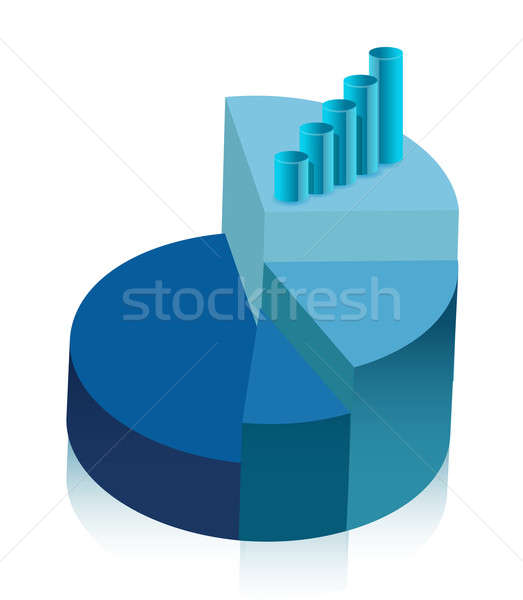 pie chart and graph illustration design over white Stock photo © alexmillos