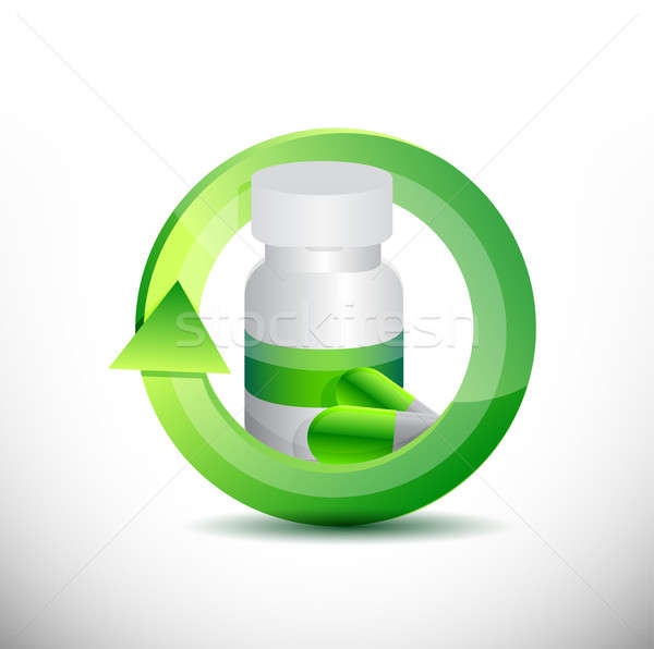 medicine 360 design concept illustration design over white Stock photo © alexmillos