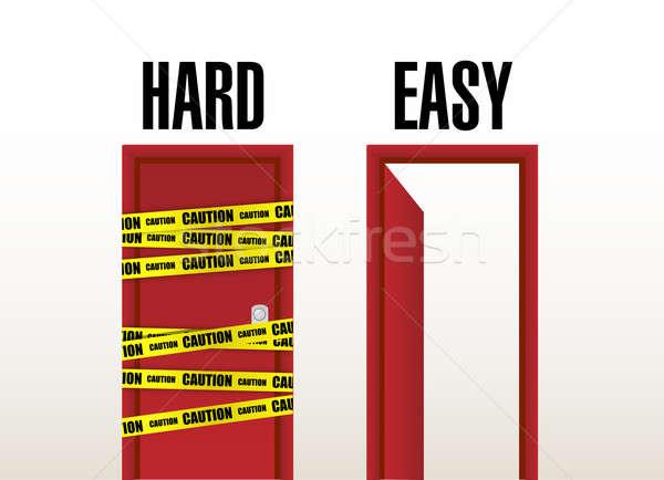 Hard and easy doors. illustration design Stock photo © alexmillos