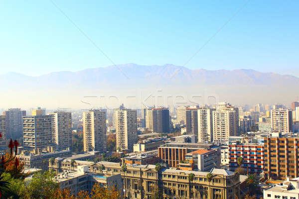 Santiago Chile business cielo Foto d'archivio © alexmillos
