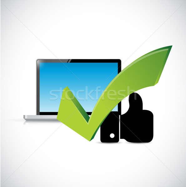 Computer goedkeuring teken zoals hand illustratie Stockfoto © alexmillos