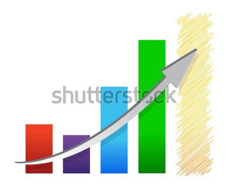 синий графа вверх вниз бизнеса стрелка Сток-фото © alexmillos