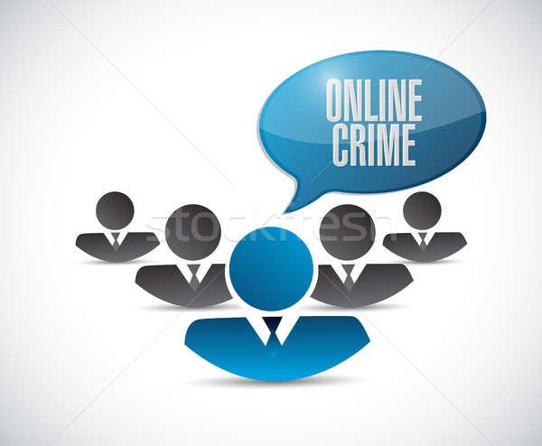 On-line crime trabalho em equipe assinar ilustração projeto Foto stock © alexmillos
