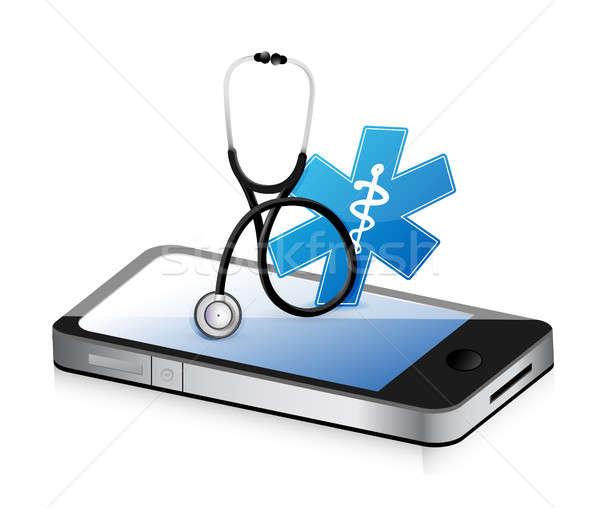 Médicaux app stéthoscope illustration design blanche Photo stock © alexmillos