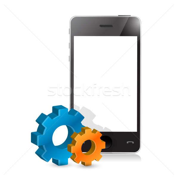 Telefoon ingesteld versnellingen illustratie ontwerp witte Stockfoto © alexmillos