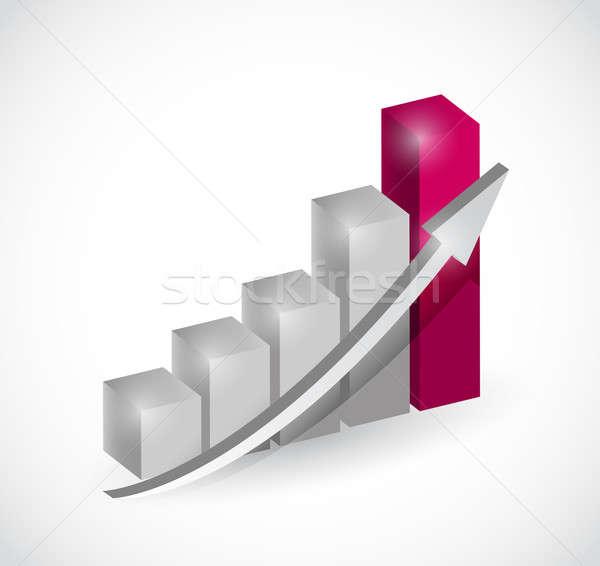 Business staafdiagram grafiek illustratie ontwerp witte Stockfoto © alexmillos
