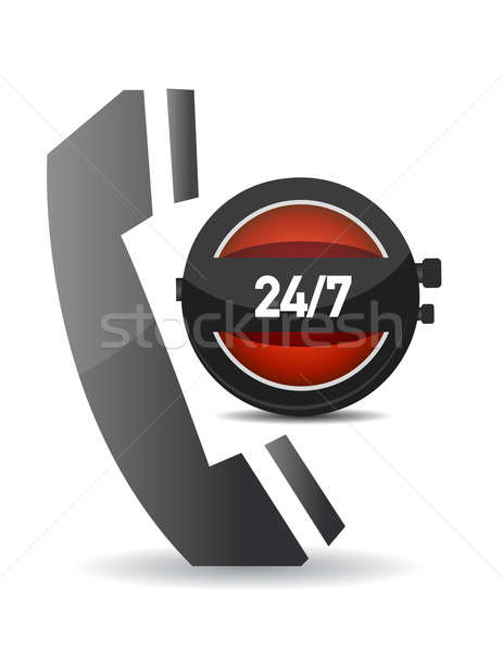 illustration showing a phone icon over a clock, to symbolize a 2 Stock photo © alexmillos