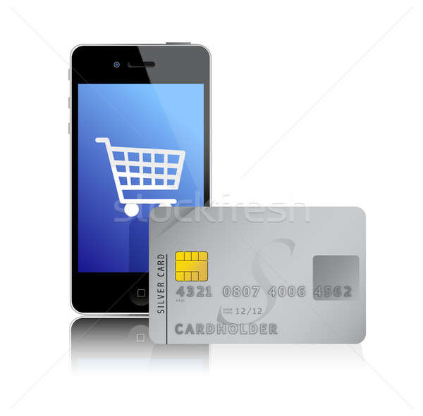 internet shopping with smart phone and credit card Stock photo © alexmillos