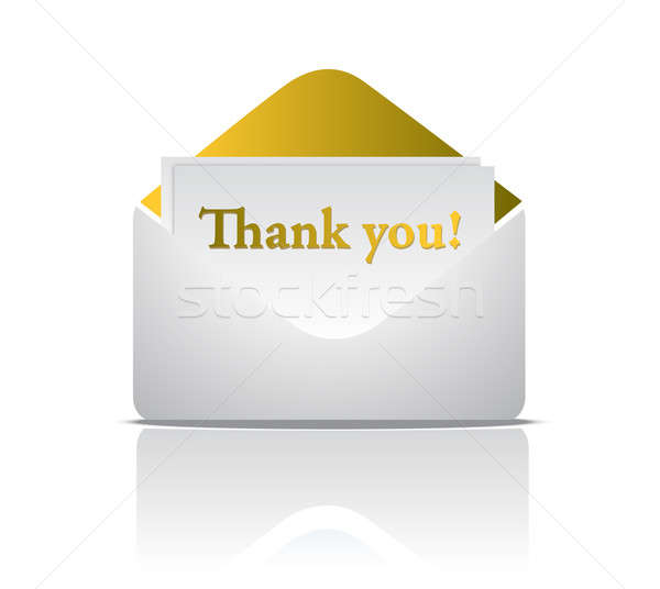 thank you golden envelope design isolated over a white backgroun Stock photo © alexmillos