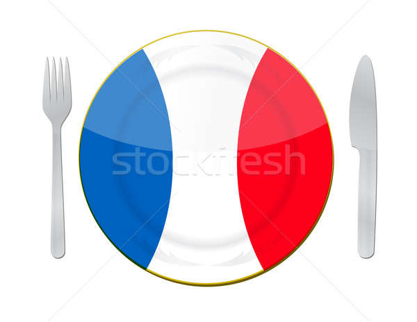 french food illustration concept design over white Stock photo © alexmillos