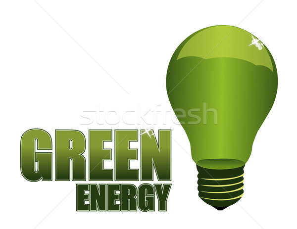 Green energy light-bulb isolated over a white background. Stock photo © alexmillos