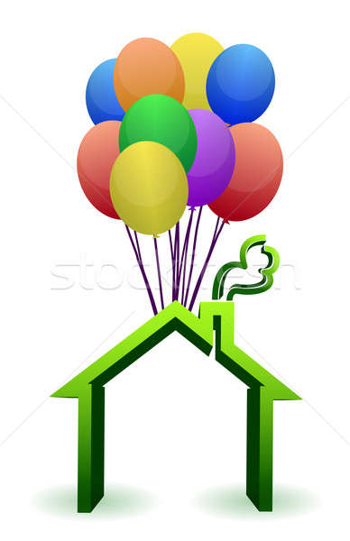 A house lifted by Balloons - illustration designs Stock photo © alexmillos