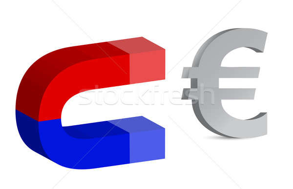 Magnet and euro sign on white background Stock photo © alexmillos