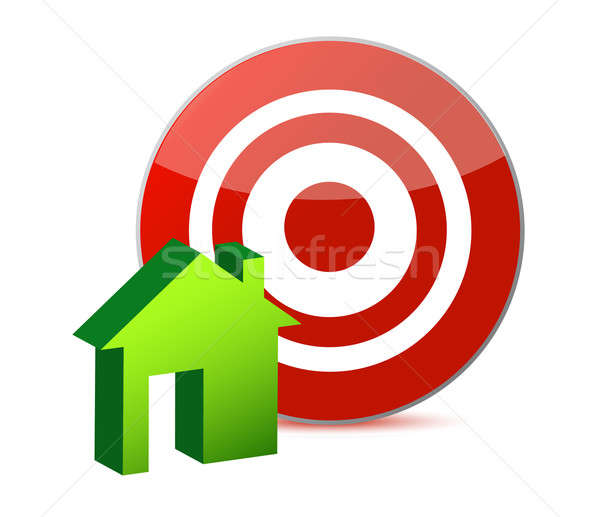 target and house illustration design over white Stock photo © alexmillos