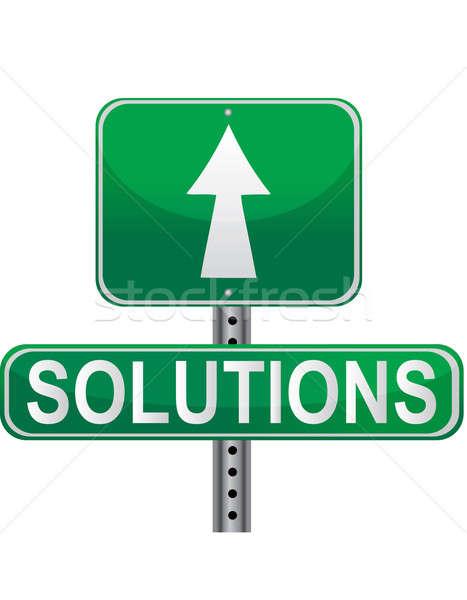 Groene oplossingen straat teken geïsoleerd witte vector Stockfoto © alexmillos