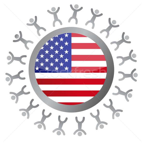 people around a us flag illustration design over white Stock photo © alexmillos