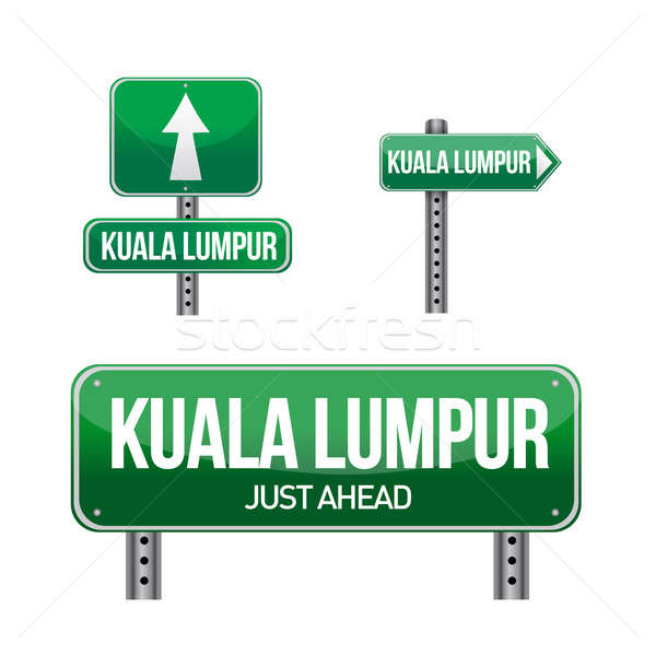 kuala lumpur city road sign illustration design over white Stock photo © alexmillos