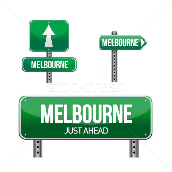 melbourne city road sign illustration design over white Stock photo © alexmillos