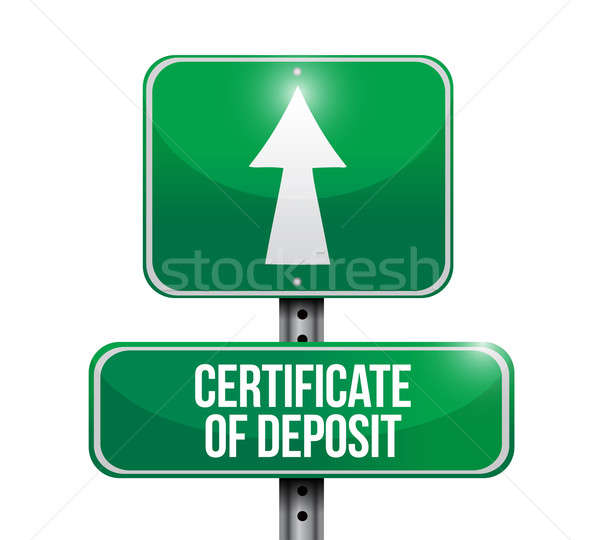 certificate of deposit road sign illustrations design over white Stock photo © alexmillos