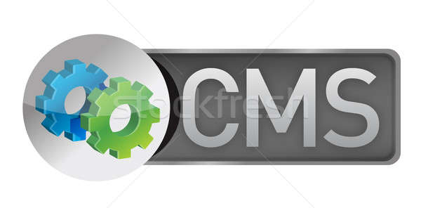 CMS gears. content management system concept illustration design Stock photo © alexmillos