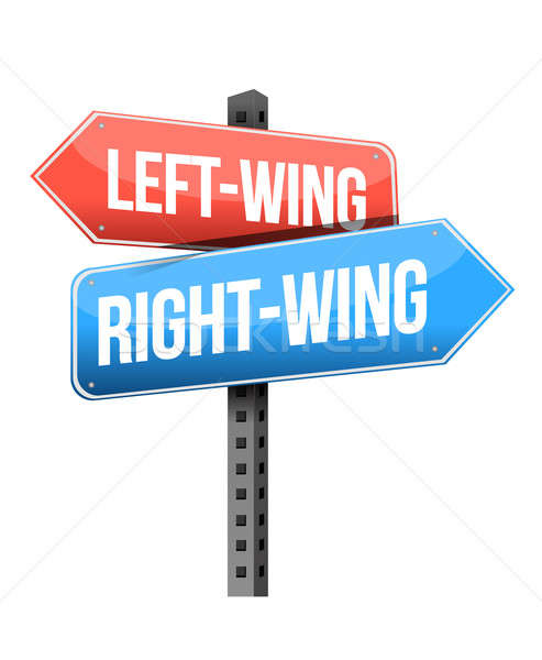 Stock photo: Left-wing and right-wing road sign illustration design over whit