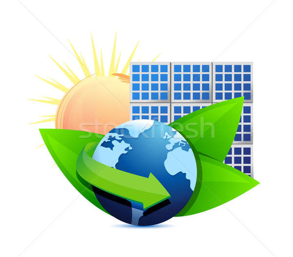 Renewal energy globe solar panel concept illustration design ove Stock photo © alexmillos