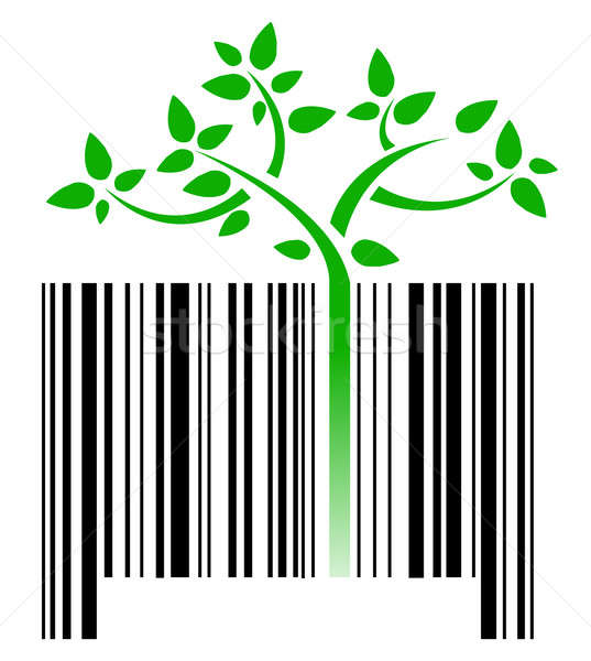 bar code with green sprouts growing illustration design over whi Stock photo © alexmillos