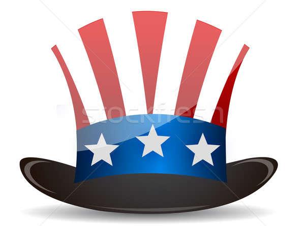 Top hoed oom illustratie ontwerp witte Stockfoto © alexmillos