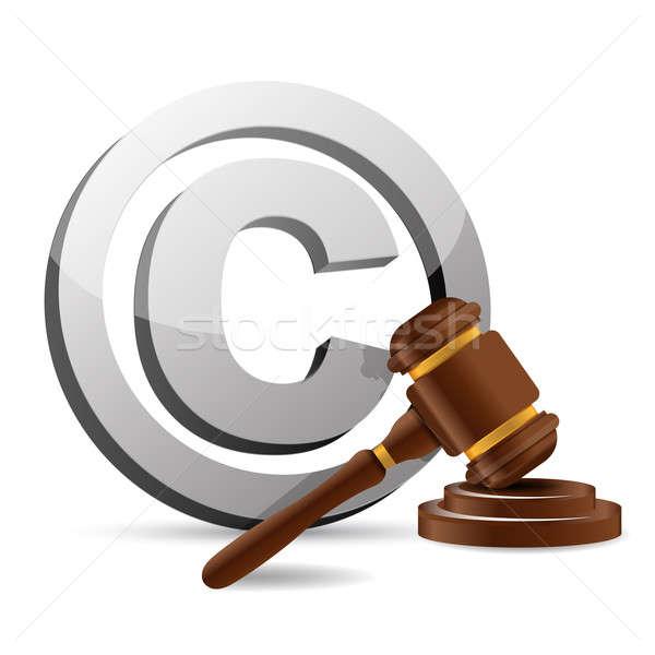 Szerzői jog szimbólum kalapács illusztráció terv fehér Stock fotó © alexmillos