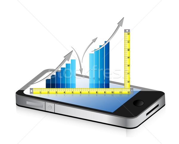 technology Tape measure bar graph concept illustration design ov Stock photo © alexmillos