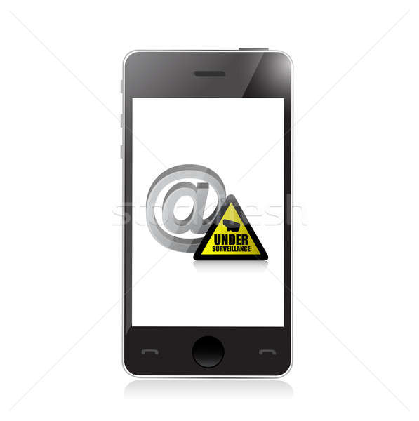 phone. internet surveillance illustration design over a white ba Stock photo © alexmillos