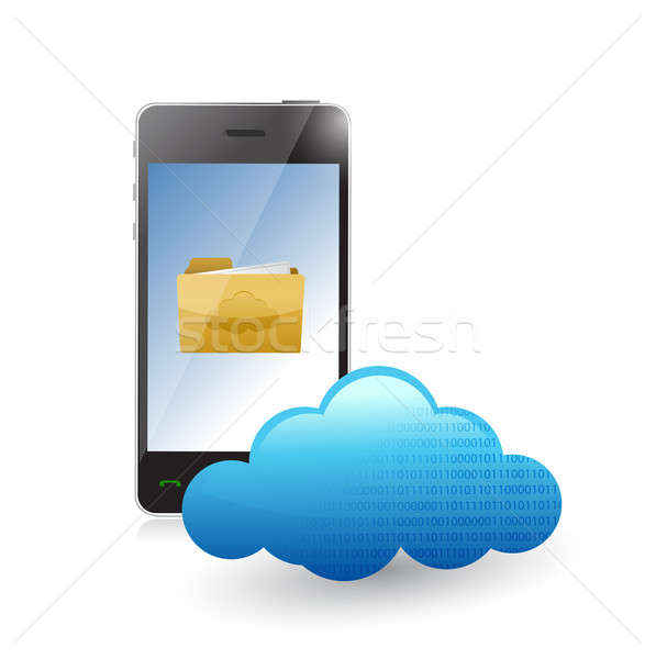 phone cloud communication accessible to files. illustration desi Stock photo © alexmillos