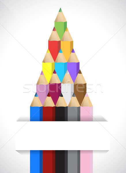 Color pencils illustration design over a white background Stock photo © alexmillos