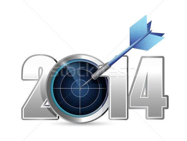Target jaar 2014 illustratie ontwerp team Stockfoto © alexmillos