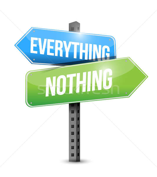 Everything nothing road sign illustration  Stock photo © alexmillos